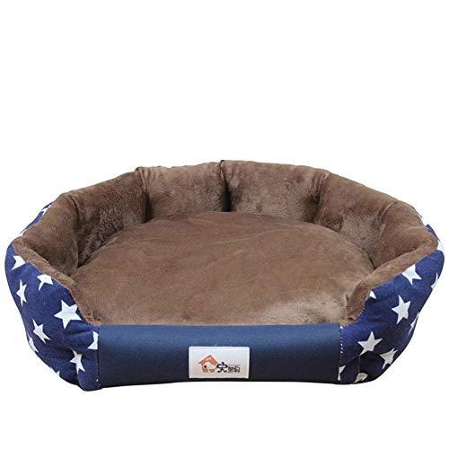 YYANG Camas para Mascotas Casa para Perros Cama para Gatos 3 Tamaños Elegante Cama para Perros Cálidas Alfombras Impermeables Suaves para Perros Pequeños Medianos Otoño Invierno,Blue-S