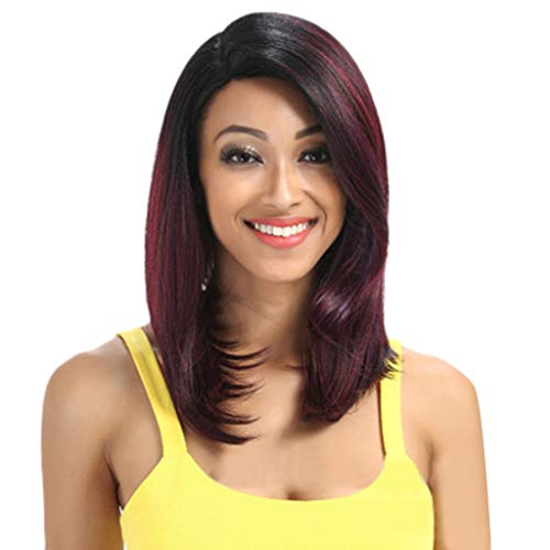 Perruque Cheveux Naturels Courte Droite Vin Rouge Dégradé Couleur Femmes Mode Synthétique 2019 peruvienne