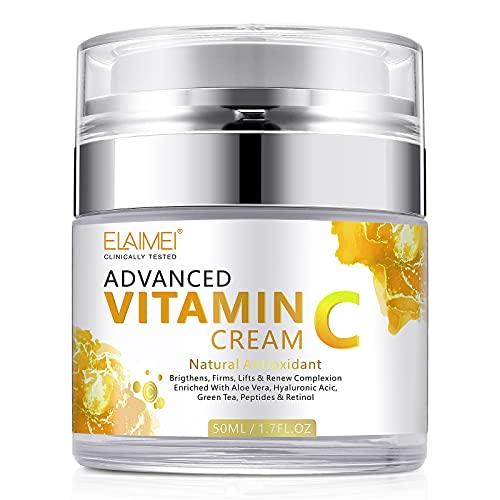 Crème pour le Visage à la Vitamine C avec Hyaluronique, Crème Naturelle Anti-âge et Anti-rides pour le Visage Jour et Nuit pour Femmes et Hommes, Stimule le Collagène de la Peau, éclaircit et Hydrate