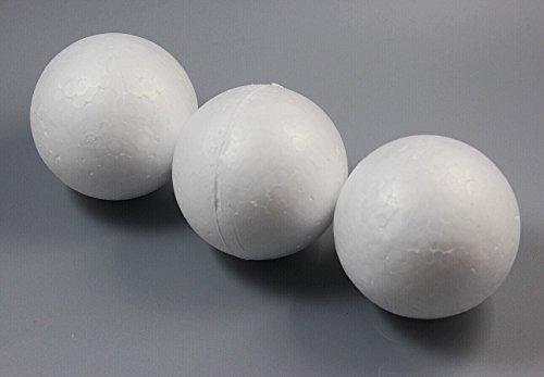 Chengyida 15-pack 70 mm/7,1 cm Balles de travaux manuels en mousse lisse Balles en mousse lisse en mousse de polystyrène Balles pour le modelage, à l'école de Noël Arts & Crafts, Blanc