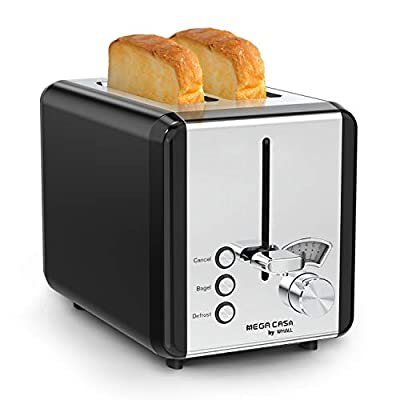 2 Slice Stainless Steel Toaster, whall Toaster Best Rated Prime - 6 Bread Shade Settings,Bagel/Defrost/Cancel Function,1.5in Extra Wide Slots,Removable Crumb Tray,Toast Evenly and Quickly for Various Bread Types (850W,Black)