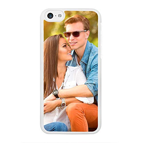 APRIL Funda Personalizada rígida Bordes Blanco iPhone 5 5S 6 Plus 6S Plus 7 8 X con la Foto y el Texto Que Quieras (iPhone 5C)