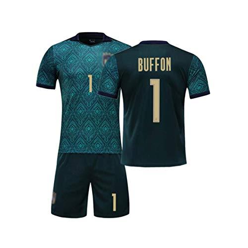 SUNY Deutschland Fußball Trikot + Hose Buffon #1 Mit GRATIS Wunschname + Nummer Für Kinder,Jungen,Baby Fußball T-Shirt Personalisiert,Blau,M