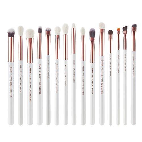 Jessup Juego de brochas de maquillaje profesionales 15 unidades, blanco perla/oro rosa, kit de herramientas de pinceles de maquillaje, delineador de ojos, sombras, pelo sintético natural