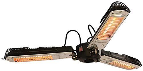 genral Calentador de sombrilla eléctrico para Patio, Calentador de Espacio infrarrojo eléctrico Plegable para Exteriores con 3 Paneles calefactores para pérgola o + Luces LED para sombrilla de terr