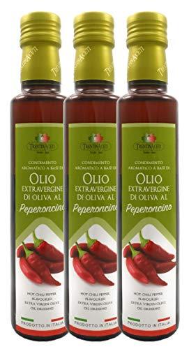 Extra Natives Olivenöl mit natürlichen Peperoncinoaroma - 3x250 ml - Italienisches Peperoncino Olivenöl in höchster Qualität - TrentinAceti - kaltgepresst