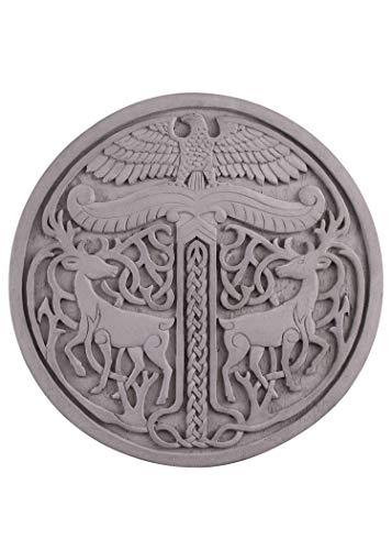 Battle-Merchant Irminsul aus Steinguss | Mittelalter Wandschmuck frostfest Garten Deko Yggdrasil (Grau)