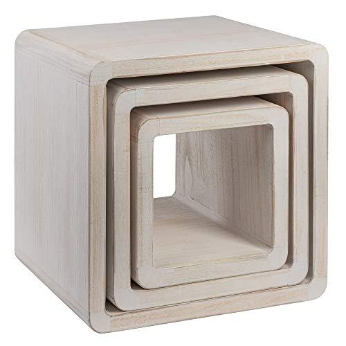 NEG Tisch-Set VINUJA (Shabby chic weiß) 3-TLG. Nachttisch/Beistelltisch aus Echtholz (Paulownia)