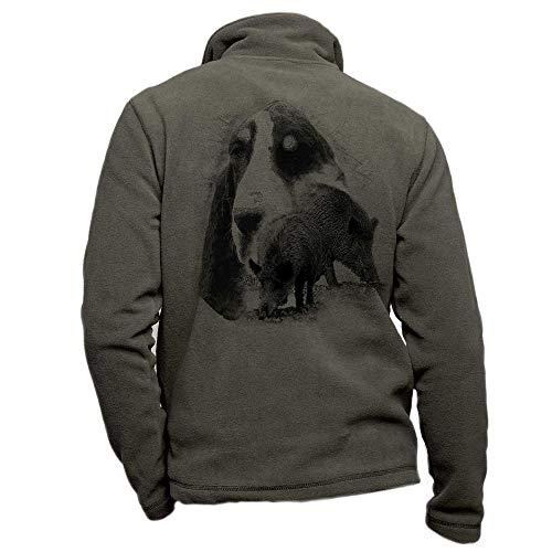 Pets-easy - Giacca da caccia in pile cachi personalizzata con un cinghiale, cane grande Gascon saintongeois – taglia M