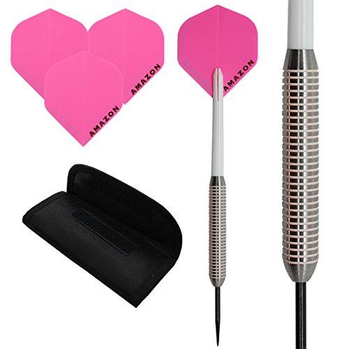 30G juego de dardos de tungsteno '4' rosa AMAZON, nailon–Cañas de dardo (forma estándar para dardos, dardos cartera