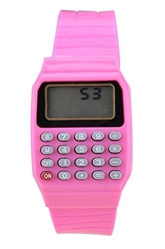 Reloj - SODIAL(R)Reloj electronico de silicona de multifuncion de calculadora para ninos y jovenes rosado