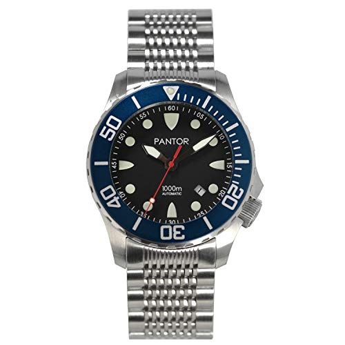Pantor Seahorse 1000m Dive Watch,Big Size 45mm Automatic Diver Watches for Men with Helium Valve Rotating Blue Bezel Sapphire Extension Diving Watch Buckles