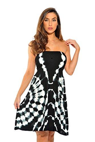 Riviera Sun 21612-BW-M Strapless Tube Short Dress/Summer Dresses Black/White