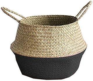 oodChanceuk Panier tressé fait à la main en jonc de mer, panier de rangement, panier à linge, panier de décoration, cache-...