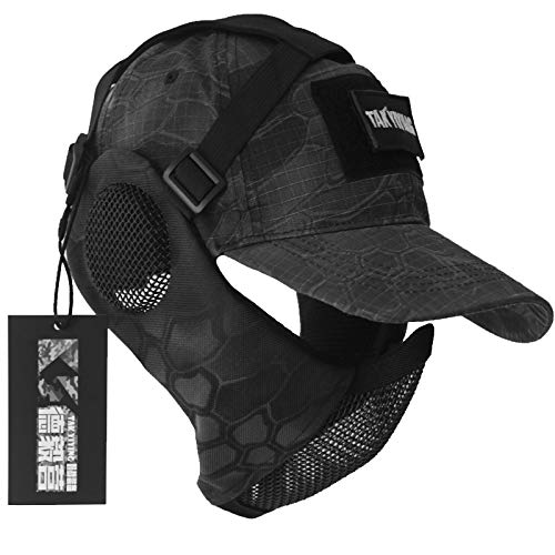 NO B Tactical Foldable Mesh Mask with Ear Protection for Airsoft Paintball with Adjustable Baseball Cap (Camouflage)