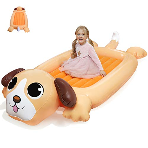 KIDZLIKE Kids Inflatable Travel Bed Portable Air Mattress for Toddlers Blow up Mattress with Sides