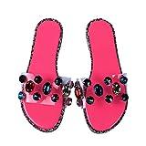 Sandalias de verano para mujer de Bibokaokoke, con brillantes y diamantes, planas, para la playa, casuales, para la playa, para la ducha beige rosa 37