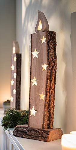 """Deko Objekt """"Leuchtkerze"""" aus Holz, 52 cm hoch, mit LED Lichterkette, Batterie-betrieben, Skulptur …"""