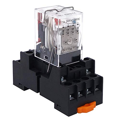 Taiss/AC 220V HH54P my4nj Spule 4PDT 4NO+4NC 14 Pins Elektromagnetisches Leistungsrelais mit Kontrollleuchte add YJF14A Base(Qualitätssicherung für 2 Jahre) YJ4N-GS