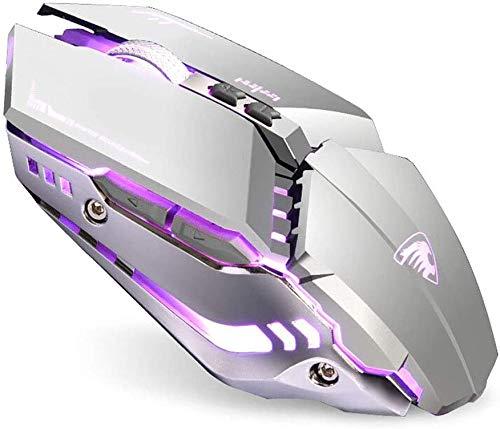 Uiosmuph T12 LED Ratón inalámbrico de 2, 4 GHz, ratón silencioso Recargable con Adaptador de Receptor Nano USB Tipo c para Ordenador portátil Tablet PC (Silver)