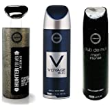 Pack of 3 Assorted Armaf Perfume Body Spray Alcohol Free 6.6 oz Club De Nuit Intense +Voyage Blue+ Hunter Intense For Men (Club Intense +Voyage Blue+ Hunter Intense)