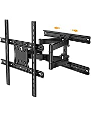 Full Motion TV Wall Mount for 17-55 Inch TVs Swivel Tilting Articulating TV Bracket Sliding Rotate Extend Max VESA 400x400 Horizontal Shift Wall Mount for TV Centering Hold up to 88 lbs, PSMFK13