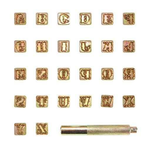 HOMEJIA - Juego 26 piezas sellos letras alfabeto acero