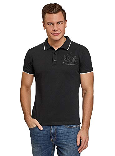 oodji Ultra Herren Pique-Poloshirt mit Stickerei, Schwarz, DE 46-48 / S