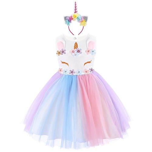 Niña Princesa Vestido Flor Unicornio Disfraz de Cosplay para Fiesta Carnaval Bautizo Cumpleaños Comunión Boda Fotografía Chica Vestir 1-7 Años Arco Iris 5-6 años