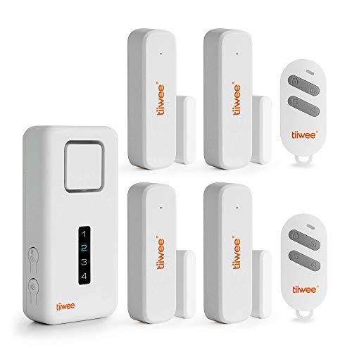 tiiwee Home Alarm System Wireless Kit X1-XL - Komplette Alarmanlage mit X1-Sirene, 4 Fenster Tür Sensoren und 2 Fernbedienungen - Fensteralarm Türalarm