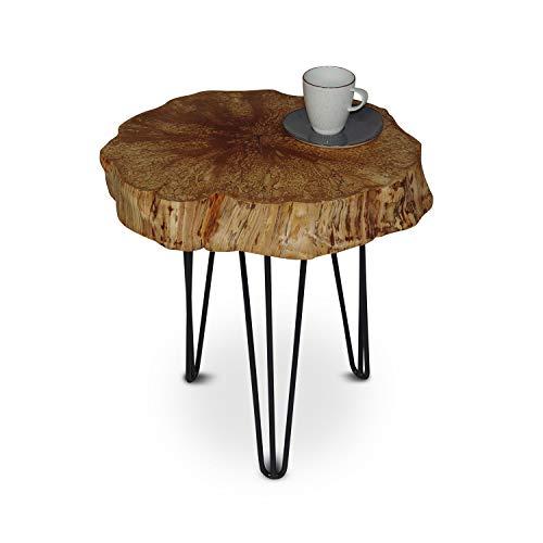 GREENHAUS Natürlich wohnen Couchtisch Baumscheibe, rustikaler Baumstamm Beistelltisch Birke, Anstelltisch mit Metallbeinen, Dekotisch Dreibein rund (30-40 cm, ohne Rinde)