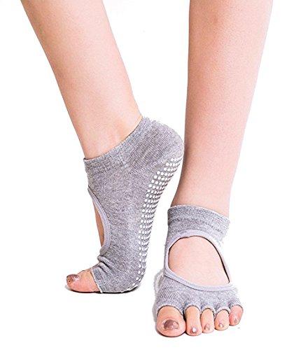 ANATMAN ヨガ ソックス 滑り止め付き 5本指 yoga ホットヨガ 靴下 ウェア スポーツ ジム (うすいグレー)