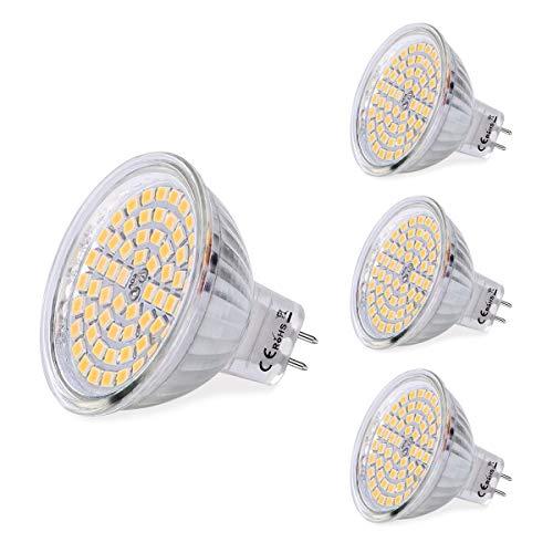 SanGlory 4 x Lampadine LED MR16 12V, GU5.3 LED Faretti 5W Equivalenti a 50W 380 Lumen, Luce Calda 3000K, 60 * 2835 SMD Lampade LED GU5.3 Non Dimmerabile