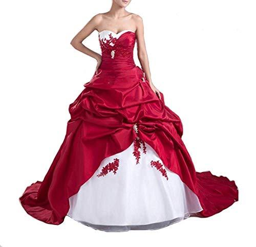YNQNFS Zweifarbiges Applique-Langarm-Brautkleid mit Spitzen-Brautkleid