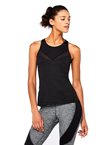 Marca Amazon - AURIQUE Camiseta Deportiva de Tirantes Mujer, Negro (Black), 40, Label:M