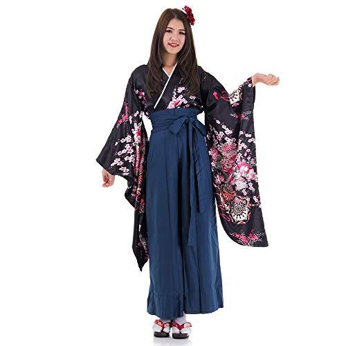 Princess of Asia Japan Damen Geisha Samurai Kimono Outfit Kostüm S M 36 38 40 (Schwarz & Blau)