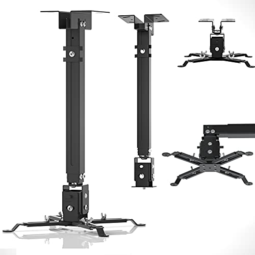 Projector Mount,Ceiling Mount or Wall Mount with Extendable Arm and Adjustable 15°Angle,Universal Projector Mount Compatible with Different Sizes Projector at Home or Office(4 in 1 Upgrade) (Black)
