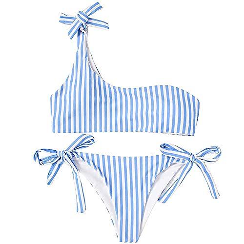 heekpek Donna da Bagno Due Pezzi Interi Una Spalla Costumi Sexy Vintage Push Up Bikini Bowknot Costumi A Bagno Mare Due Piscina