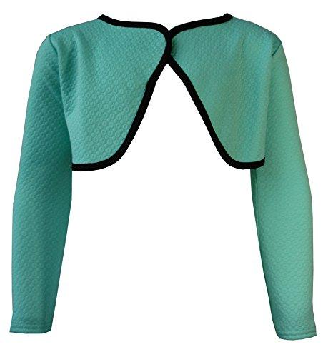 AEL Girls Shrug Bolero Cardigan Full Sleeve Kids New Contrast Lining Colour: Mint Size: 2 Years