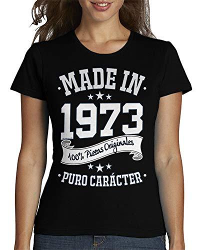 latostadora - Camiseta Made In 1973 para Mujer Negro L