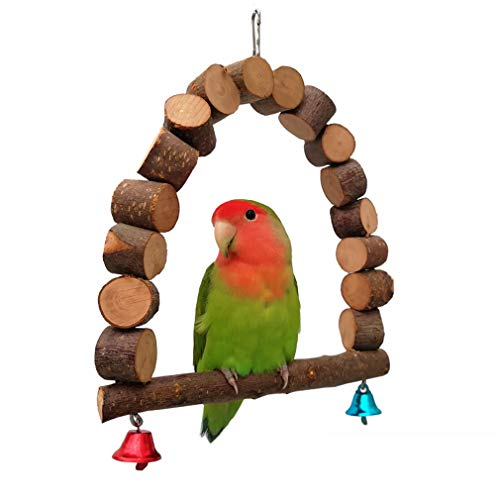 ZHER-LU Papegaai Speelgoed ladder Hangmat Swing voor Papegaai Macaw Afrikaanse Grijze Budgie Cockatoo Bell Chew Toys…