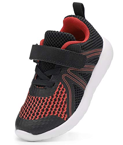 DADAWEN Boy's Girl's Lightweight Breathable Sneakers Strap Athletic Running Shoes Black/Red US Size 5 M Toddler