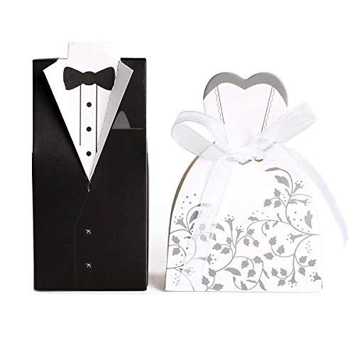 JZK 100 Stück = 50 Paare, Braut und Bräutigam Geschenkbox Hochzeit Gastgeschenk Schachtel Süßigkeiten Kasten für Hochzeit Hochzeitstag Hen Party