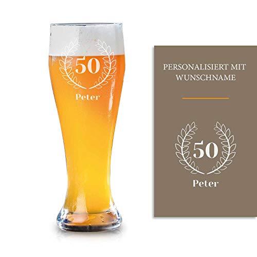 Smyla Weizenbierglas 50. Geburtstag mit Gravur | Geschenk-Idee | personalisiertes Bier-Glas mit Name | Geschenk für Männer