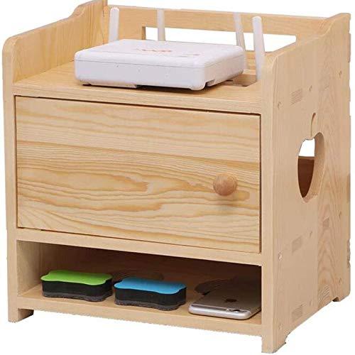 DGDF Estante de almacenamiento, soporte de madera maciza para TV set-top box, caja de almacenamiento de router inalámbrico, sala de estar hogar WiFi rack, almacenamiento