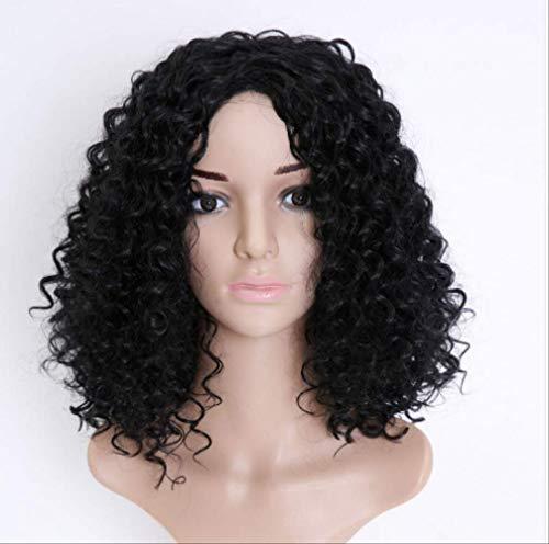 Perruque courte bouclée perruque perruque petit rouleau tête explosive couverture de tête en fibre chimique noir