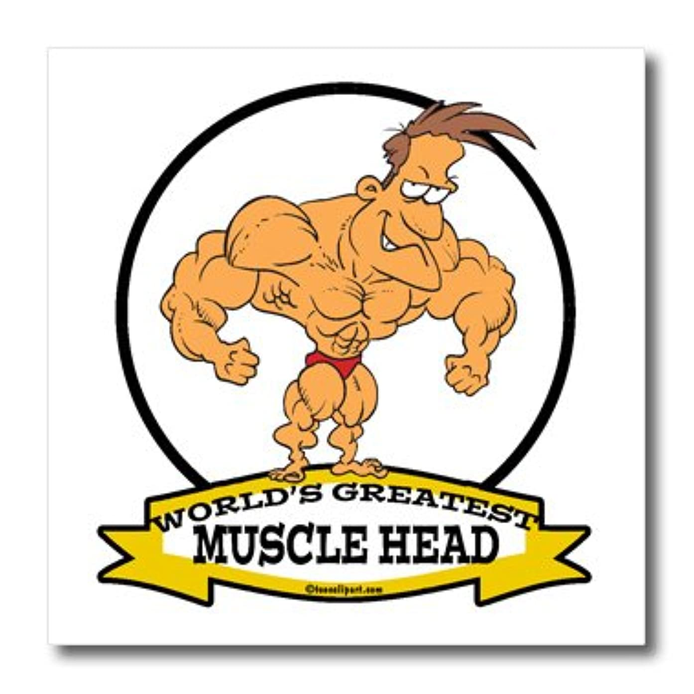 3dRose ht_103374_3 Funny Worlds Greatest Muscle Head Men Cartoon-Iron on Heat Transfer for White Material, 10 by 10-Inch
