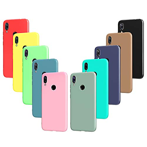 VGUARD 10 x Funda para Xiaomi Redmi Note 7, Ultra Fina Carcasa Silicona TPU Protector Flexible Funda (Negro, Gris, Azul Oscuro, Azul Cielo, Azul, Verde, Rosa, Rojo, Amarillo, Marrón)