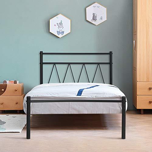 Aingoo Metallbett mit Lattenrost Bettrahmen Kopfteil Gästebett Jugendbett Kinderbett Single Bed Weiß