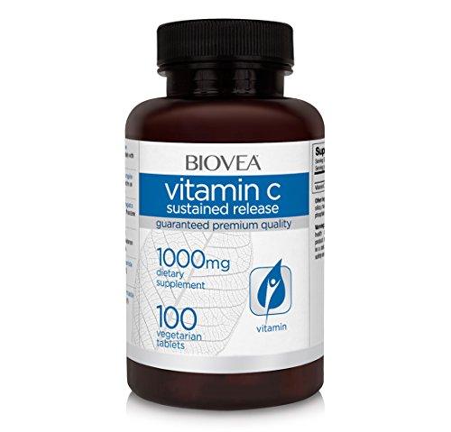 BIOVEA Vitamina C 1000 mg de liberación sostenida, apoya un sistema inmunológico saludable, 100 tabletas vegetarianas (suministro para 100 días)